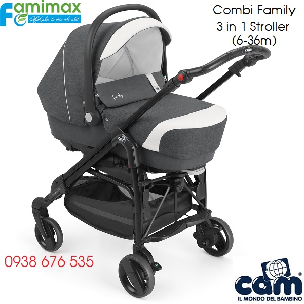 Bộ xe đẩy Combi Family 3 in 1 of Cam Italia
